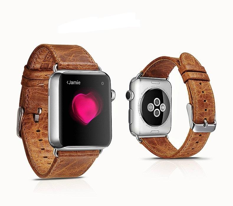 Correa De Cuero Genuino Para Apple Watch Marca Icarer
